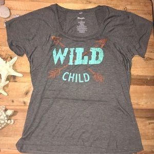 """Wrangler large grey t-shirt """"wild child"""""""